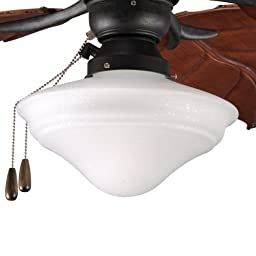Progress Lighting P2637-80 One-Light Indoor/Outdoor Universal Fan Light Kit with Frosted Seeded Glass, Forged Black