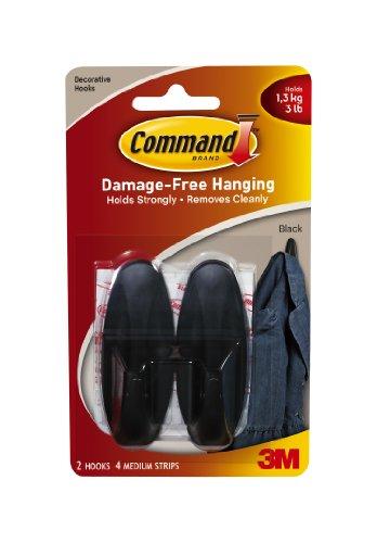 Designer Hooks, Plastic, Black, 2 Hooks with 4 Adhesive Strips per Pack