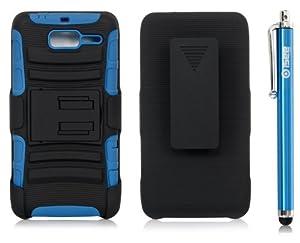 iSee Case Hybrid Kickstand Belt Clip Holster Case for Verizon Motorola Droid Razr M XT907 Razr i XT 890(XT907-King Black on Blue Holster+Stylus)