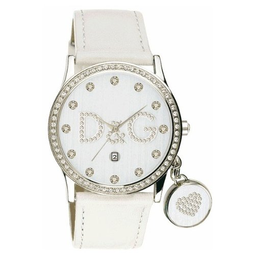 Dolce  &  Gabbana DW0091 Women's Analog Quartz Watch with White Leather Strap
