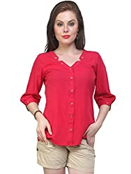 Pannkh Women's Polyester Tops (PKT1006PINK-S _Small_Pink)