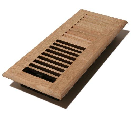Decor Grates WL410-U 4-Inch by 10-Inch Wood Louver Floor Register, Unfinished Oak image