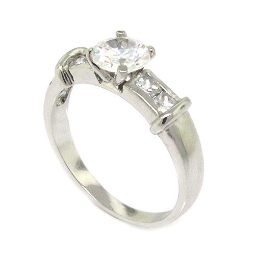 Classic Sterling Silver Promise Ring w/Round Brilliant White CZs, 8