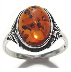 Baltic Amber Sterling Silver Oval Classic Ring 10x14mm Cabochon