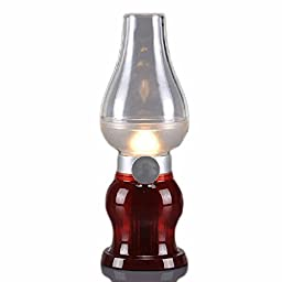 WAYCOM Rechargeable Dimmable Blow Control LED Lamp / Classic Kerosene Lamp Design / USB Powered Blowing Nostalgic LED Night Light (Burgundy)