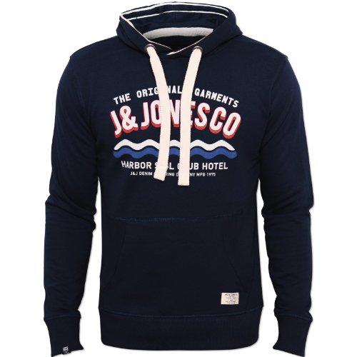 Jack and Jones Mens Navy Hersh Hoody Drawstring Chest Print 100% Cotton Navy X-Large