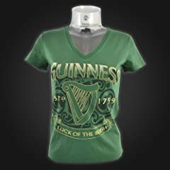Guinness Ladies V Neck T-Shirt - Luck of the Irish