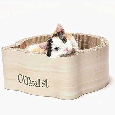 Cat1st Cat-headed Round Cardboard Scratcher Cuddler Bed (Birch)