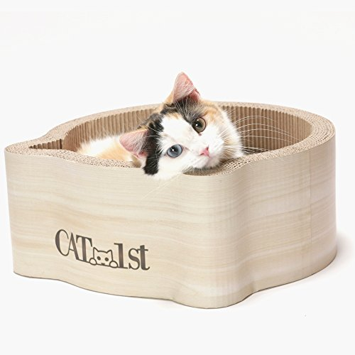 Cat1st Cat-headed Round Cardboard Scratcher Cuddler Bed (Birch)