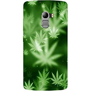 Casotec Green Leave Design Hard Back Case Cover for Lenovo K4 Note