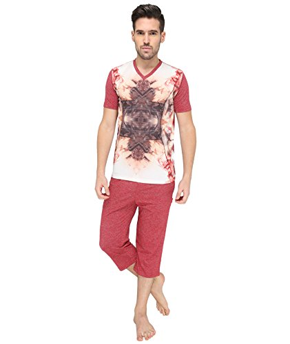 Valentine-Mens-Red-color-Top-Capri-Set