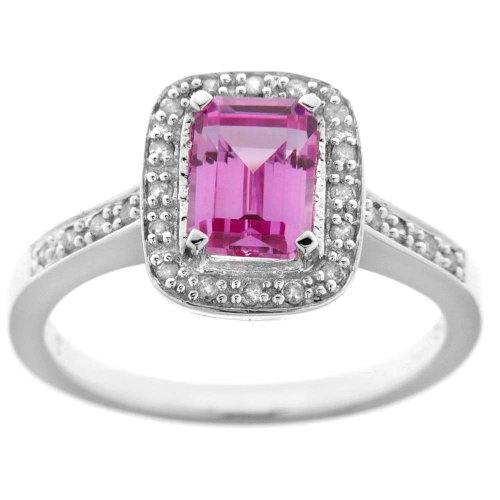 Sterling Silver Octagon Created Pink Sapphire and Diamond-Accent Ring, Size 6