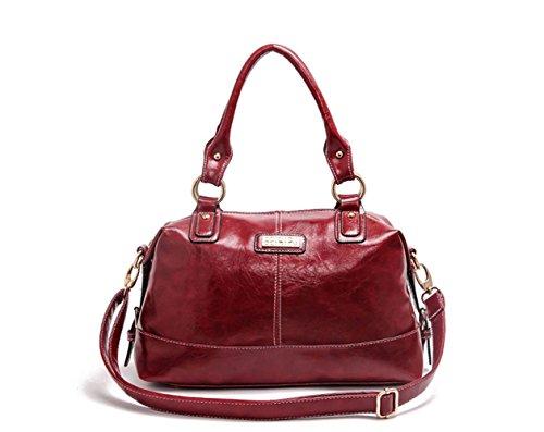 Lacaca-Borsetta a tracolla in pelle Bag-Borsa Hobo-Borsa Messenger, rosso (Rosso) - LA-LG-S51