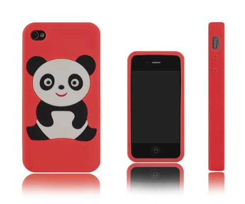 Xcessor Panda Bear Flexible Silicone Case For Apple Iphone 4 4S. Red