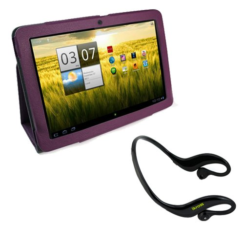 iKross Water Resistant Bluetooth Outdoors Sport Stereo Handsfree Headset + Purple Smooth Synthetic PU Leather Protector Cover Case with Stand for Acer Iconia A200 10.1-Inch Screen Tablet