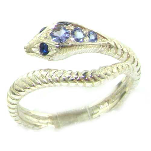 Fabulous Solid Sterling Silver Natural Tanzanite & Sapphire Detailed Snake Ring - Size 12 - Finger Sizes 5 to 12 Available - Suitable as an Anniversary ring, Engagement ring, Eternity ring, or Promise ring