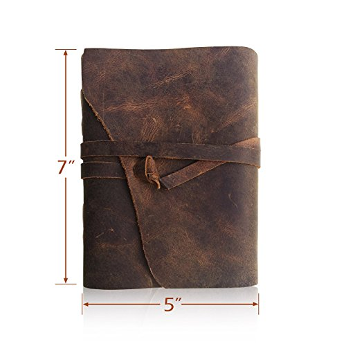 Leather Journal Writing Notebook, Antique Handmade Leather Bound Daily Notepad For Men & Women, Unlined Paper 7 x 5 Inches, Perfect Gift for Art Sketchbook, Travel Diary & Notebooks to Write in (Gem Notebook compare prices)