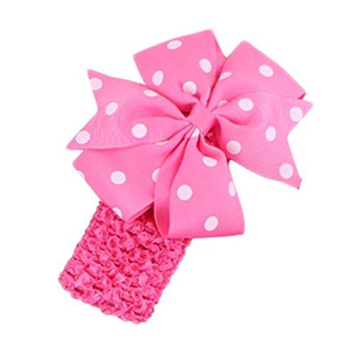 BELLAZAARA Baby Girl Polka Dot Pink Bowknot on wide Crochet Headband