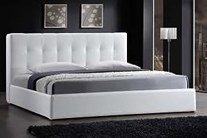 lederbetten wei es kunstleder bett bettrahmen bettgestell. Black Bedroom Furniture Sets. Home Design Ideas
