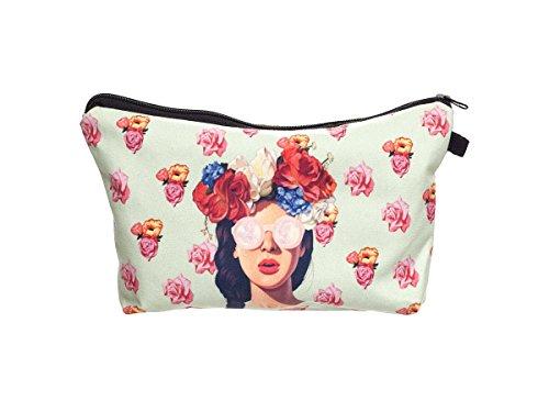 Beauty Case, borsa da viaggio, borsetta da toilette sacco sacchetto bagno per cosmetici trucco make up motivi diversi, Kosmetiktasche KT-002-050:KT-026 donna con rosa