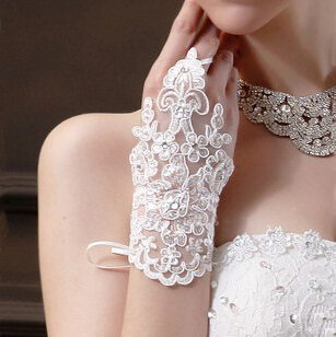 CIMC LLC Fingerless Bridal Short Lacework Diamond Lace Embroidered Wedding Gloves,White