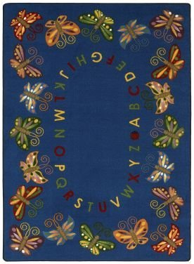 "Joy Carpets Kid Essentials Early Childhood Butterfly Delight Rug, Multicolored, 5'4"" x 7'8"""