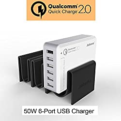 Jabees Q7 [Qualcom Certified Quick Charge 2.0] 6 Port 50W Rapid Turbo adaptive Desktop USB Charging station with Unique Detachable Docking station for Smartphone, Tablet, iPad, iPhone etc. [White Colour]