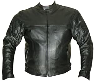 NEW MENS MOTORCYCLE HARD ARMOR LEATHER JACKET BLACK 38
