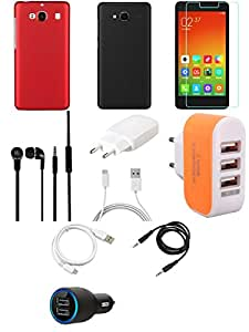 NIROSHA Tempered Glass Screen Guard Cover Case Charger Headphone USB Cable car Combo for Xiaomi Redmi 2s Combo