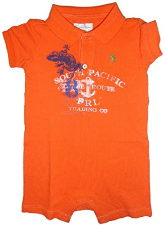 Ralph Lauren Infant Boys Romper South Pacific Resort Orange (6 Months)