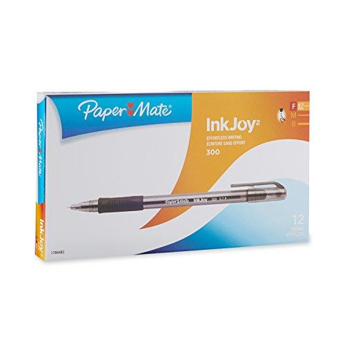 paper-mate-300-ballpoint-pens-07mm-fine-point-black-12-pack