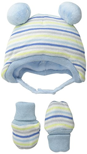 The Children's Place Baby-Boys Sweater Hat and Mitten, Blue Fog, 0-6 Months