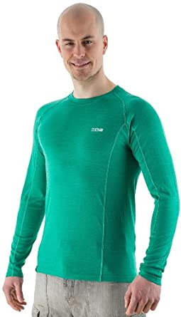EDZ 200g Mens Merino Wool Long Sleeve Base Layer Emerald Green XL