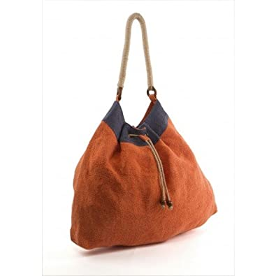 Earth Axxessories Large Jute Drawstring Hobo Tote