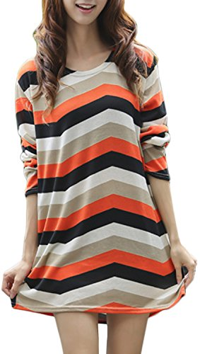 Cinqueint Women's knitted Stripes Causal Jumper Pullover Sweater (Stripes 4)