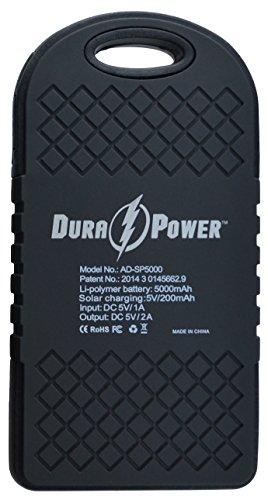 Dura-Power-5000mAh-Solar-Charger-Power-Bank