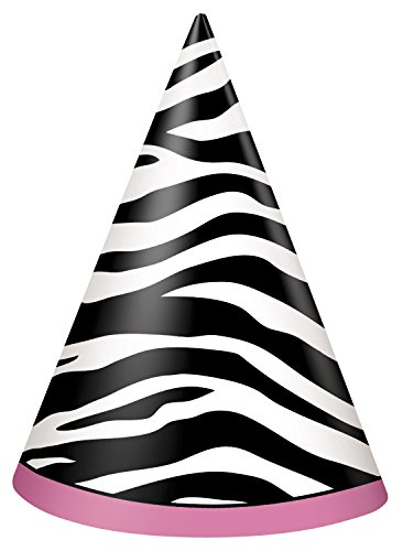 Zebra Print Party Hats, 8ct - 1