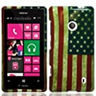 For T-Mobile Nokia Lumia 521 Windows Phone 8 Hard Snap-on Case Blue USA Flag
