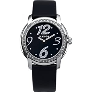 Mango QM781.11.04 Ladies Black Dial With Crystals And Black Leather Strap Watch