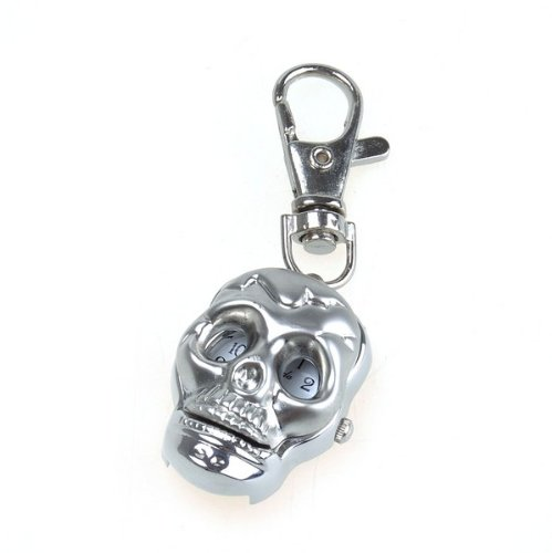 Bestdealusa Modern Unique Alloy Skull Key Ring Pendant Pocket Quzrtz Watch