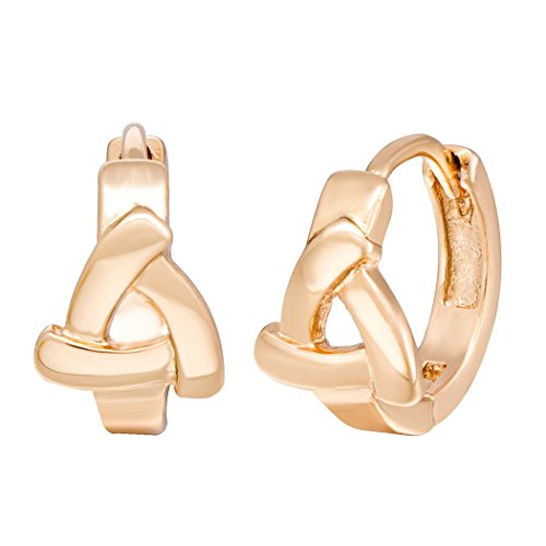 Real Spark Womens Fashion Jewelry Gold Plated Triangle Stainless Steel Clip On Hoop Earrings