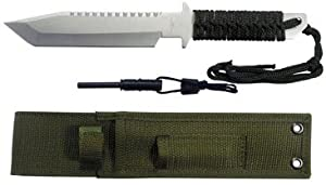 11 Inch Tanto Style Blade Survival Knife w/ Fire Starter
