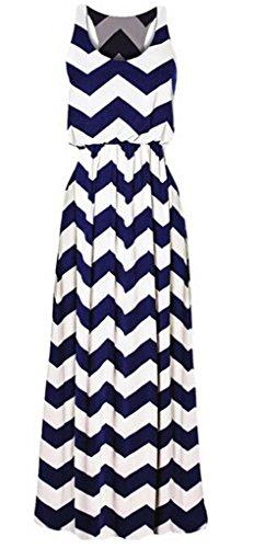 Women Celeb Style Retro Black&White Striped Scoop Neck Party Maxi Long Dress
