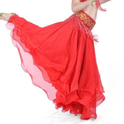 BellyLady Belly Dance Tribal Chiffon Tiered Maxi Skirt, Valentine
