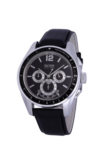Hugo Boss Men's Quartz Watch with Black Dial Chronograph Display and Black Leather Strap 1512406
