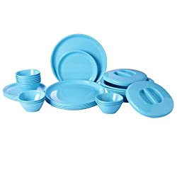 Incrizma Polypropylene Microwave Safe Break Resistant Dinner Set, 28 Pieces, Round, Turquoise