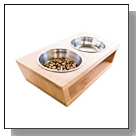 Premium Elevated Dog and Cat Pet Feeder, Double Bowl Raised Stand Comes with Extra Two Stainless Steel Bowls. Perfect for Small Dogs and Cats.