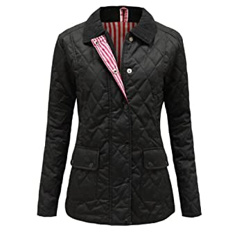 Envy Boutique Women's Quilted Padded Button Zip Winter Jacket Coat Top Plus Sizes Black 8