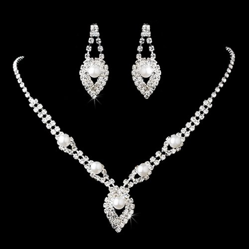 Bridal Wedding Jewelry Set Elegant Rhinestone Pearl