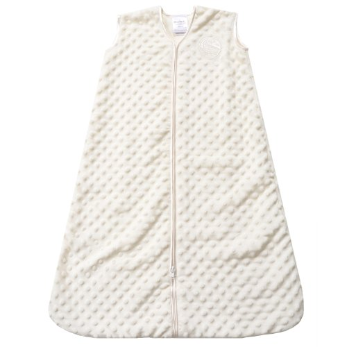 HALO SleepSack Plush Dot Velboa Wearable Blanket, Cream, Medium